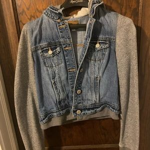 American Eagle Jean Jacket with Sweater Sleeves